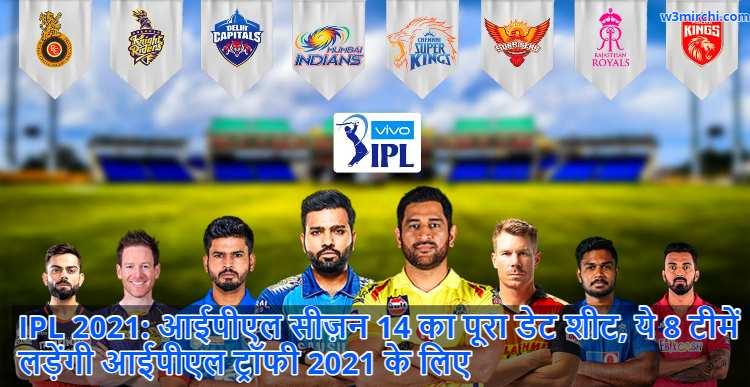 IPL 2021 Schedule, Date, Timings, MI to face RCB in opener