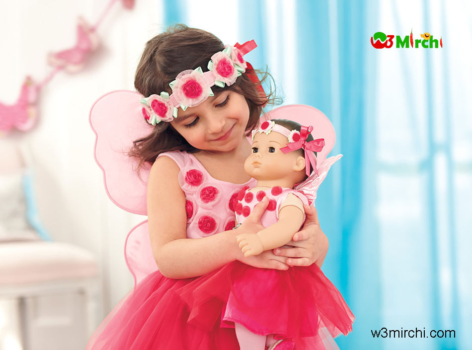 Cute girl with doll picture